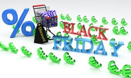 Shopping discount black friday, 3d. Render Stock Photography