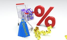 Shopping discount concept, 3d rendr Stock Image