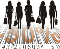 Shopping Discount, fifty percent. Young women purchased at a discount, vector illustration Stock Photos