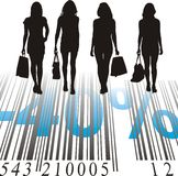 Shopping Discount, forty percent. Young women purchased at a discount Royalty Free Stock Images