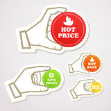 Shopping discount labels in a hand. Shopping colorful discount labels set Stock Photography