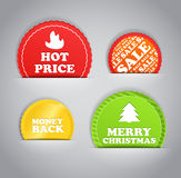 Shopping discount labels in a hand. Shopping colorful discount labels set Stock Photo