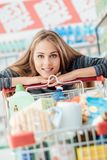 Shopping at the discount store royalty free stock image