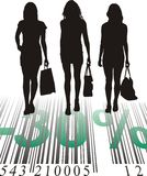 Shopping Discount, thirty percent. Young women purchased at a discount, vector illustration Stock Photos