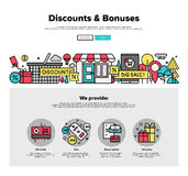 Shopping discounts flat line web graphics Royalty Free Stock Photography