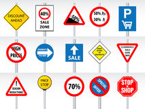 Shopping discounts inspired by traffic signs Royalty Free Stock Photos