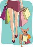 Shopping with dog Stock Photo