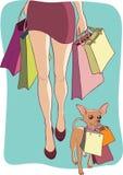 Shopping with dog Stock Photo
