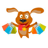 Shopping dog. Vector illustration of a dog with shopping bags royalty free illustration
