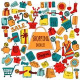 Shopping Doodle Colored Set Royalty Free Stock Images