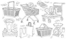 Shopping doodles hand drawn set, baskets and shopping carts, scales and packages. stock photography