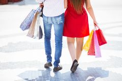 Back View Of Young Couple Walking In The City royalty free stock photography