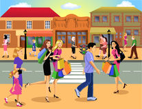 Shopping downtown. Busy people walking and going shopping downtown stock illustration