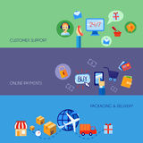 Shopping e-commerce banner set flat Royalty Free Stock Photos