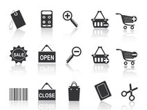 Shopping e-commerce black icon set Royalty Free Stock Photo