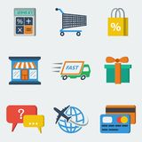 Shopping E-commerce Icons Flat Royalty Free Stock Photos