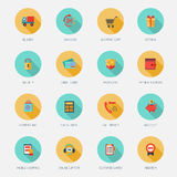 Shopping E-commerce Icons Flat Royalty Free Stock Photo
