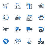 Shopping and E-commerce Icons, Set 1 - Blue Series. Set of 16 shopping and e-commerce icons, great for presentations, web design, web apps, mobile applications Royalty Free Stock Photos