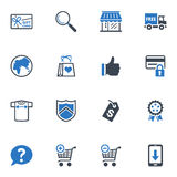 Shopping and E-commerce Icons, Set 2 - Blue Series. Set of 16 shopping and e-commerce icons, great for presentations, web design, web apps, mobile applications Stock Image
