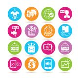 Shopping and e commerce icons. Set of 16 shopping and e commerce icons in colorful buttons vector illustration