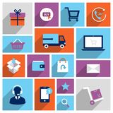 Shopping e-commerce icons Stock Photography