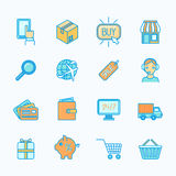 Shopping e-commerce icons set flat line Stock Photos
