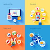 Shopping e-commerce icons set flat Royalty Free Stock Image