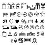 Shopping e-commerce icons set. Stock Images