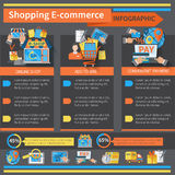 Shopping E-commerce Infographics Stock Photos