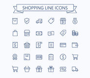 Shopping and E-commerce vector mini icons set. Thin line outline 24x24 Grid.Pixel Perfect Royalty Free Stock Image