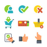 Shopping and E-commerce for website or mobile application. Icons isolated on wihite. Royalty Free Stock Image
