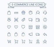 Shopping e-komrets, online-lagret, den tunna linjen minisymboler för ecommercevektorn ställde in raster 24x24 Perfekt PIXEL Redig Arkivfoto