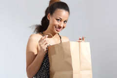 Shopping, ecological shopping bag Stock Images