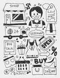Shopping elements doodles hand drawn line icon, eps10 Royalty Free Stock Photography