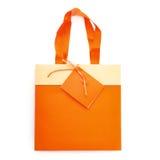 Shopping- eller gåvapåse som isoleras över den vita bakgrunden Arkivbild