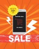 Shopping em linha no móbil em economias da venda do disconto até 50% fora fotografia de stock