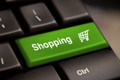 Shopping enter key. Green shopping enter button key Royalty Free Stock Photography