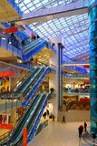 Shopping and entertainment complex Avia park in Moscow. Interior shopping center. Escalators on the floors Stock Photo