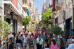 Shopping on Ermou Street on August 3, 2013 in Athens, Greece. Royalty Free Stock Photo