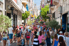 Shopping on Ermou Street on August 3, 2013 in Athens, Greece. Stock Photo