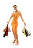 Shopping euphoria #2. Happy girl with shopping bags Stock Images