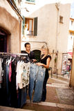 Shopping Europe. A happy couple shopping in a small street in europe Royalty Free Stock Photos