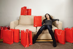 Shopping exhaustion stock images