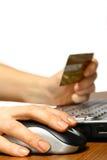 shopping för 3 internet Arkivbilder