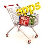 shopping för appsvagnstelefon royaltyfri illustrationer