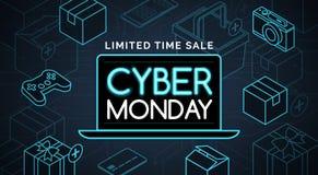 Shopping för Cybermåndag befordrings- försäljning royaltyfri illustrationer
