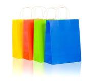 shopping för färgrikt papper för påsar set Arkivbild
