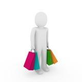 shopping för försäljning för man för påse 3d Arkivfoton