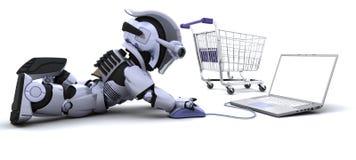 shopping för gåvabärbar datorrobot royaltyfri illustrationer