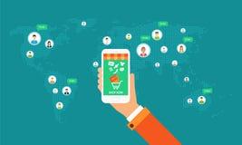 shopping för global affär på linje på mobila enheten stock illustrationer
